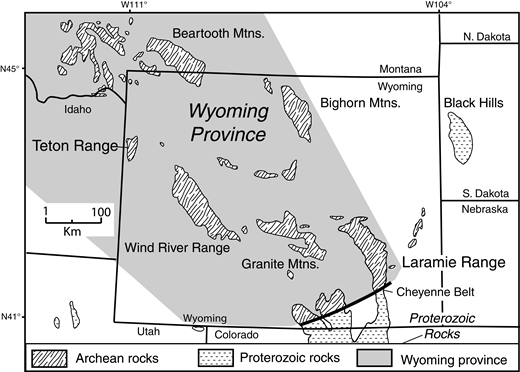 Precambrian geology of Wyoming and adjacent states showing the location of the Teton Range and its relation to other Archean exposures in the Wyoming province. Precambrian rocks are exposed in the cores of Laramide uplifts (patterned). The southwestern extent of the province is uncertain. The northeastern boundary of the Wyoming province is after Worthington et al. (2015).