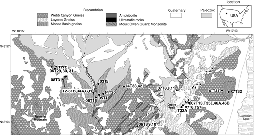 Geologic map across the northern Teton Range showing the relations between the high-pressure granulites (Moose Basin gneiss), leucogranites (undifferentiated Webb Canyon and Bitch Creek gneisses of Frost et al., 2016) and Layered Gneiss. Modified after Love et al. (1992). Numbers identify the samples cited in this paper. Two samples of Moose Basin gneiss analyzed for Sm-Nd isotopic compositions are located south of the map area (08T10 and 08T25).