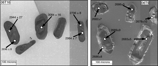 Cathodoluminescence image of some of the zircon grains from 06T16 and 06T9. Grains from 06T16 show bright low-U cores that are considerably older than the margins. Grains from 06T9 lack recognizable older cores and yield concordant ages from all positions in the grains. Ages are 204Pb corrected 207Pb/206Pb ages with 1 σ errors.