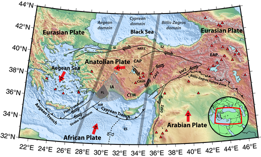 Topographic map with major tectonic features of the Anatolian region. Red arrows indicate plate motion, with velocities (on arrowheads, in mm/yr) and directions derived from global positioning system (GPS) measurements relative to stable Eurasia (Barka and Reilinger, 1997; Reilinger et al., 2006). Dashed line indicates boundary between subducting oceanic (OL) and continental lithosphere (CL; Granot, 2016). Black arrows indicate sense of shear along strike-slip faults. Red triangles indicate volcanoes active in the Holocene. Thick gray lines separate the three convergent domains listed from west to east: the Aegean domain, the Cyprean domain, and the Bitlis-Zagros domain. Abbreviations are as follows: AM—Anaximander Mountains; CAFZ—Central Anatolian fault zone; CAP—Central Anatolian Plateau; CAVP—Central Anatolian Volcanic Province; CTM—Central Taurus Mountains; DSFZ—Dead Sea fault zone; EAFZ—East Anatolian fault zone; EAP—East Anatolian Plateau; ES—Eratosthenes Seamount; FL—Fethiye Lobe; IA—Isparta angle; IZ—İstanbul zone; NAFZ—North Anatolian fault zone; SZ—Sakarya zone.