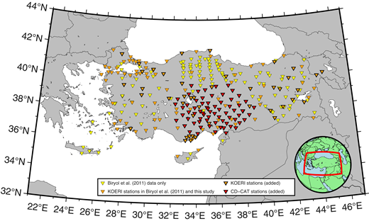 Map of seismic stations used in this study. Yellow and orange triangles without a bold outline indicate stations that were included in the original data set of Biryol et al. (2011), while orange and red triangles with bold outlines are new to the data set. Orange triangles without a bold outline indicate stations that were included in the original data set but data between 2013 and 2015 were added for the present study. KOERI—Kandilli Observatory Digital Broadband Seismic Network; CD-CAT—Continental Dynamics–Central Anatolian Tectonics Project.