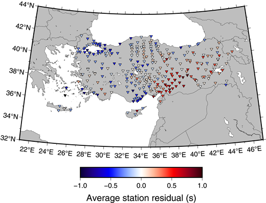 Map of stations used for this study, with color scaled by the average traveltime residual for that station. Traveltime residuals were determined after crustal thickness corrections. Note the relative delays in the east compared to early arrivals in western and central Anatolia, indicating slower velocities beneath eastern Anatolia.