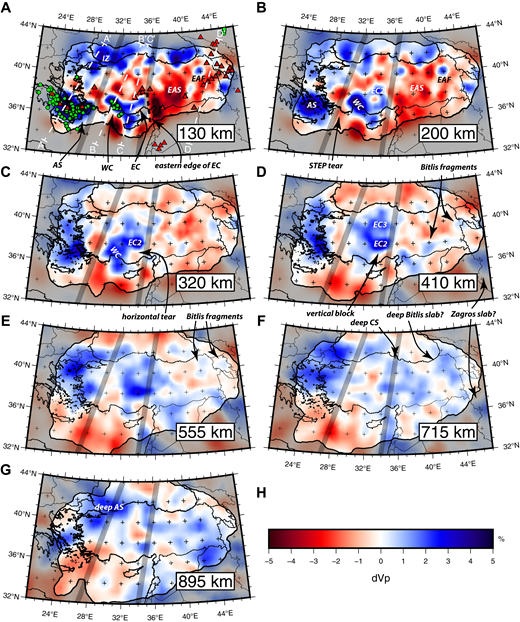 Results from the tomographic inversion at depths of (A) 130 km, (B) 200 km, (C) 320 km, (D) 410 km, (E) 555 km, (F) 715 km, and (G) 895 km. (H) Color scale for P-wave velocity perturbations. The dashed white lines in A indicate the locations of the cross sections in Figure 7. Solid black line surrounded by dark shading represents the 0.5 hit quality contour. Green circles are earthquake locations from the U.S. Geological Survey Advanced National Seismic System (ANSS) Comprehensive Earthquake Catalog (Com-Cat). As in Figure 1, red triangles indicate volcanoes active in the Holocene, and thick gray lines separate the three convergent domains. Abbreviations are as follows: AS—Aegean slab; CS—Cyprean slab; EAF—East Anatolian fast anomaly; EAS—East Anatolian slow anomaly; EC—east Cyprean slab; IZ—İstanbul Zone; STEP—subduction-transform edge propagator system; WC—west Cyprean slab.