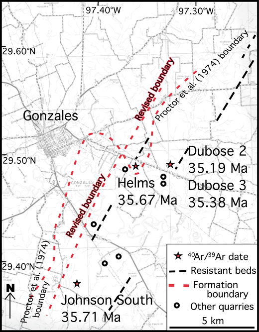 Radiometric dating placement of the Yegua Formation–Jackson Group boundary compared to the boundary shown on the Geologic Atlas of Texas, Seguin sheet (Proctor et al., 1974) in the bentonite district of Gonzales County, Texas.