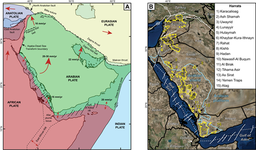 Tectonic and volcanic summary maps of the Arabian plate. (A) Map of the Arabian plate with its bounding structures and relative rates and directions of plate motion are shown as red arrows (after Stern and Johnson, 2010). (B) Satellite image (from Google Earth) of the Arabian plate with volcanic fields outlined in yellow and Precambrian Arabian shield outlined in blue.