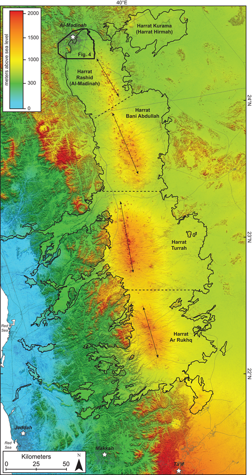 TanDEM-X digital elevation model (12 m resolution) of the Harrat Rahat volcanic field (outlined in black), along with major cities along its margins (white stars) and major roads (gray lines). Harrat Rahat is a composite volcanic field of four smaller volcanic fields, each with its own main vent axis (denoted by solid black lines and arrows). The area of interest for this study is the northernmost part of Harrat Rahat labeled Figure 4.