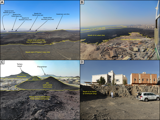Photographs of scoria cone and lava-flow exposures within the northernmost part of Harrat Rahat. (A) Photograph looking northwest with Al-Madinah in the background showing the 1256 A.D. bla scoria cone vent complex and lava flows and older mafic scoria cones and lavas to the west. (B) Photograph looking west, near the distal end of unit bla, illustrating expansion of the city over the young eruptive units. (C) Photograph to the south displaying three of the four scoria cones of bdu within the western suburbs of Al-Madinah. (D) Typical exposure of a dense basaltic lava flow (bhg) within the western part of Al-Madinah. See Table 1 and Figures 4 and 5 for unit locations, corresponding names, and descriptions.