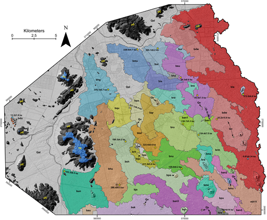 Geologic map of the area surrounding Al-Madinah. Lava flows are outlined, as are vent centers, which are stippled and have black stars denoting individual craters within each center. The base map is a 0.5 m resolution hillshade constructed from light detection and ranging (lidar) data. Roads are marked in light gray. See Figure 5 for the stratigraphic column and key. Yellow stars represent the location of 40Ar/39Ar samples, and blue stars represent the location of 36Cl cosmogenic surface-exposure samples (the 36Cl cosmogenic sample for ban3 is not shown due to its location south of the map area). Quaternary volcanic strata are present farther east and south of the map area (Fig. 2) but are not shown here.
