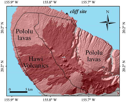 Simplified geologic map of the Kohala Peninsula draped over shaded-relief topography. Numerous cinder cones associated with the Hawi Volcanics are widely distributed across the surface of the volcano. Effusive volcanism likely spread air-fall basaltic ash across the peninsula, including the surfaces of older Pololu Volcanics lavas undergoing weathering. Black lines are major roads.