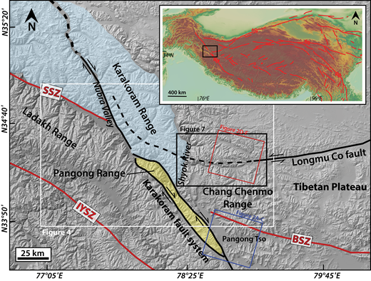 Simplified tectonic map of major features of the Ladakh region of northwest India over a shaded-relief digital elevation model. Major faults are indicated by black lines; suture zones are indicated by red lines (SSZ—Shyok suture zone; IYSZ—Indus-Yarlung suture zone; BSZ—Bangong suture zone). The major mountain ranges discussed in this work have been shaded. Other structural provinces and important locations are marked. The locations of Figures 2A–2C and 2D–2F are indicated by colored boxes. Inset map shows transform faults within the Himalayan orogeny (modified from Taylor and Yin, 2009). The black box in the inset shows the study location. The white box shows the location of Figure 4. The black box shows the location of Figure 7.