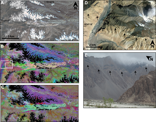 Stretched ASTER images, a Google Earth image, and a field photo of the trace of the Longmu Co fault through the Chang Chenmo Range on the western side of the Shyok River. Location of A–C is shown in Figure 1. (A) False color ASTER image. Imagery obtained from the U.S. Geological Survey Land Processes Distributed Active Archive Center. (B) 12-11-10 decorrelation stretch of ASTER data. The peach and white unit is a carbonate unit (unit Km4 in Fig. 4) marking the Longmu Co fault system. The large white box shows the location of D; the small white box shows the location of E. (C) 14-12-11 decorrelation stretch of the same region. (D) Google Earth image of the trace of the Longmu Co fault where it crosses the Shyok River. The arrows indicate the fault trace. (E) Field photo of the Longmu Co fault in the same area as D (marked by arrows).