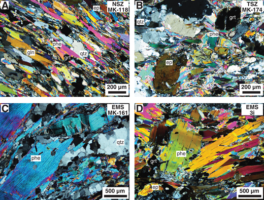 Thin section microphotographs in cross-polarized light to illustrate the size distribution of phengite in the Sesia zone samples. (A) Blueschist-facies mylonite, Nantay shear zone (NSZ). (B) Greenschist-facies mylonite, Tallorno shear zone (TSZ). (C, D) Eclogitic micaschists (EMS). ep—epidote; gln—glaucophane; grt—garnet; phe—phengite; qtz—quartz.