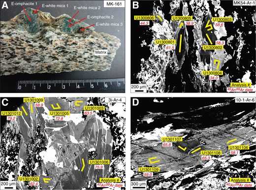 "Spatial information about the sampling for geochronological investigations. (A) Distinct sample domains in micaschist MK-161, illustrating the locations where minerals for dating the eclogite-facies assemblage (prefix ""E"") by Rb-Sr were separated. Scale is in centimeters. (B–D) Back-scattered electron images of phengite in samples MK-54 (B), 3i (C), and 10-1 (D) with locations of laser lines (yellow) for in situ 40Ar/39Ar analyses. Ages are given in italics (in Ma). Note the distinct difference between dark, relict core regions compared to light, overprinted domains. See Table 3 for complete data set."
