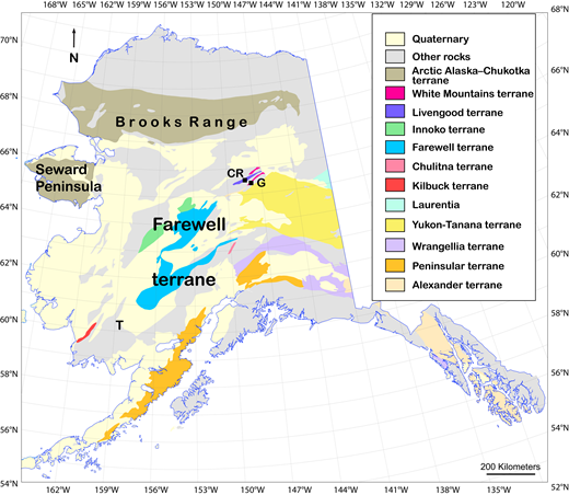 Map of Alaska (USA) showing selected terranes, adapted from Silberling et al. (1994). Detrital zircon sample localities: CR—Cascaden Ridge unit; G—Globe unit. T—Tikchik terrane.