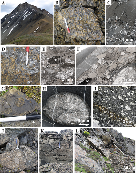 Lithologic features of Triassic and Jurassic Mystic subterrane rocks, shown in outcrop photographs (A, B, D, G, J–L) and thin section scans (C, E, F, H, I). See Figure 4 for locations. (A–C) Conglomerate at locality 12 is made mostly of rounded, fine-grained limestone clasts. Approximate height between lower left of photo and mountain top in A is 300 m. (D–F) Conglomerate at locality 13 contains abundant clasts of pale to medium gray carbonate and brown to black radiolarian chert (rc). (G–I) Coralline limestone (cl; close view of coral in H) overlies vesicular basalt (vb; microtexture shown in I) at locality 14. (J, K) Agglomerate (in J) interbedded with volcaniclastic sandstone at locality 16. (L) Diabase sill intrudes sandstone at locality 15. DZ—detrital zircon.