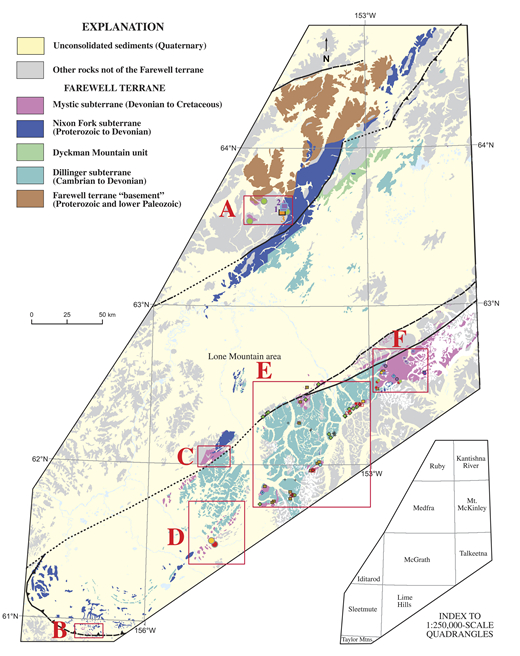 Generalized geologic map of the Farewell terrane and location of some detrital zircon localities discussed in text. See Figure 4 for an enlarged version of areas E and F and key to locality symbols. White areas on map are covered by snow or ice. The western and central parts of the Alaska Range extend through areas E and F.