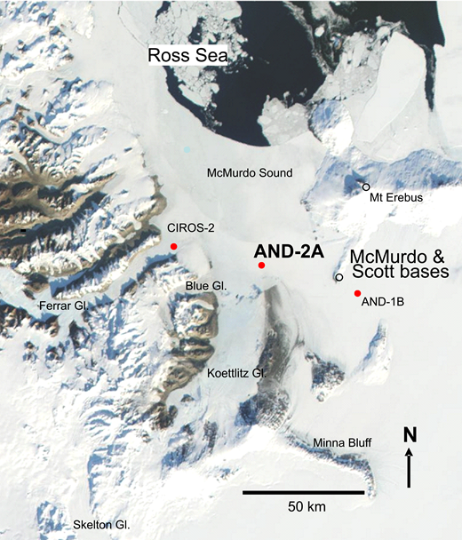 Location of the AND-2A drill hole, southern McMurdo Sound, Antarctica. Gl—glacier.