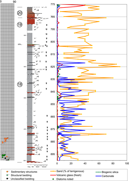 Composite Sequence 4 with paleocurrent dip directions from image log data (left), and smear slide data (right). See Figure 2 for a key to colors in the lithologic column and Figure 3B for graphics symbols. Abbreviations as in Figure 3 caption.