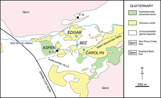 Geologic map of the Mary Mountain Springs area, Lower Geyser Basin, Yellowstone National Park (simplified from Muffler et al., 1982). Pink areas are post-collapse Plateau Rhyolites: the Nez Perce Creek flow (148 ± 5 ka) and the Elephant Back flow (153 ± 2 ka) (ages from Obradovich, 1992). Smaller, unlabeled areas of the Plateau Rhyolites south of the Mary Mountain trail are also Qpce. Black dots are the locations of the U.S. Geological Survey research drill holes (White et al., 1975). Blue dots are the research springs (Table 1 lists precise locations).