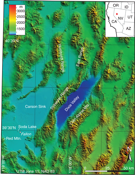 Location of Dixie Valley, Nevada (USA). Color scale shows elevation above sea level. The elevation of this valley is ∼200 m lower than that of the Carson Sink, which is already one of the lowest basins in this region. Shaded relief from 10 m National Elevation Dataset (https://lta.cr.usgs.gov/NED). OR—Oregon; ID—Idaho; CA—California; NV—Nevada; UT—Utah; AZ—Arizona.