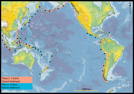Locations of magnitude ≥ 7.5 earthquakes (stars) between 1899 and 2013 relative to sediment thickness at the trench, modified from Scholl et al. (2015).