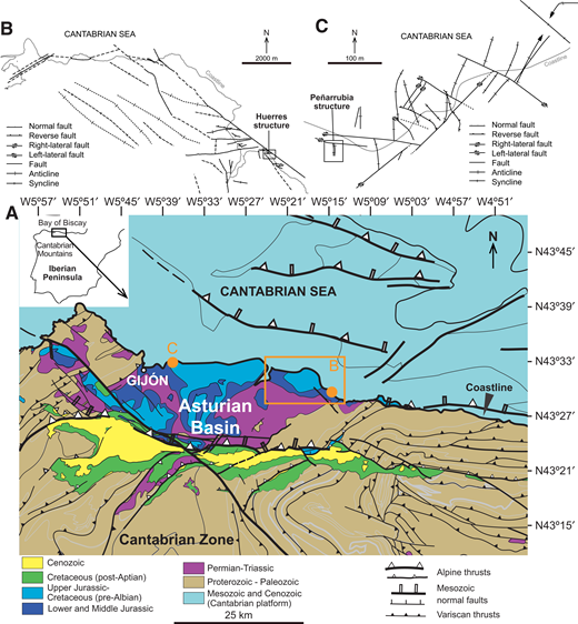 (A) Geological map of the Asturian Basin (modified from Alonso et al., 2009) and structural sketches of the surrounding areas of the two studied outcrops: (B) Huerres (modified from Uzkeda et al., 2016) and (C) Peñarrubia (modified from Odriozola, 2016).
