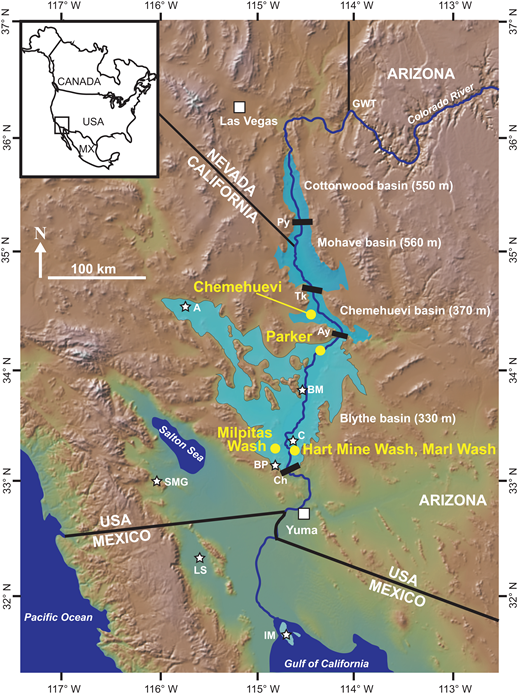 Regional map showing the relationship of Cottonwood, Mohave, Chemehuevi, and Blythe basins along the lower Colorado River corridor and in relation to North America (inset). Extents of paleolakes that deposited the northern Bouse Formation are shown in darker blue. Extent of water body that deposited the southern Bouse Formation is shown in light blue. Yellow dots are outcrop locations used in this study. Black bars with two-letter identifiers are paleodivides: Py—Pyramid, Tk—Topock, Ay—Aubrey, Ch—Chocolate Mountains. White stars are other locations mentioned in the text or figures: A—Amboy, BP—Buzzard Peak, BM—Big Maria quarry, C—Cibola, IM—Isla Montague, LS—Laguna Salada, SMG—Split Mountain Gorge. MX—Mexico, GWT—generalized location of Grand Wash Trough. Base figure is from the Global Multi-Resolution Topography (GMRT) Synthesis (Ryan et al., 2009), http://www.geomapapp.org.