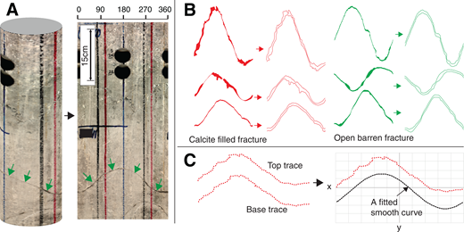 (A) Core sample with an unfilled fracture (green arrows) cutting the core; the core sample was unrolled as a 360° photographic scan, and the core scans were used to trace and digitize fractures up to 0.1 mm of core dimension. (B) Six examples of digitized profiles of calcite-filled fractures (red) and unfilled fractures (green) and their separated top and base profiles. (C) Top and base profiles of a digitized fracture and demonstration of how it was used to measure roughness by computing the Z2 parameter of the profile deviations in x-y dimensions from a fitted smooth curve. Note: The lines in the core in A are markers for core handling at the laboratory, and the two black holes are sampled plugs.