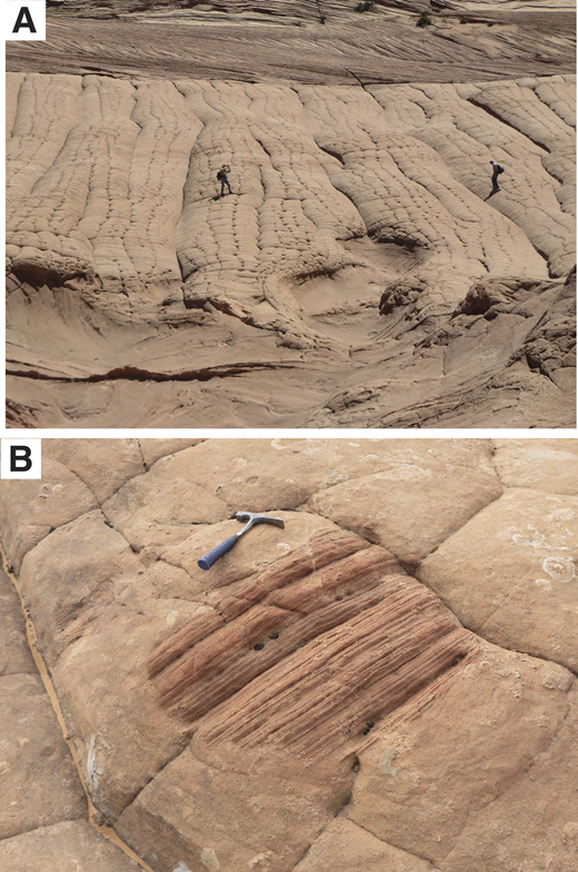 Relationships between structureless and stratified sandstone. (A) (37.04581°N, 111.9925°W) Lower one-third of the image comprises large-scale, cross-stratified sandstone that was deformed during soft-sediment deformation. Bulbous masses of deformed cross-strata contact jointed, structureless sandstone (middle part of image, with people for scale). Undeformed cross-strata (uppermost part of image) lie above the structureless sandstone. (B) (37.03630556°N, 111.996944°W) Isolated block of wind-ripple-laminated sand that was engulfed by liquefied sand (now represented by structureless sand with polygonal joints).