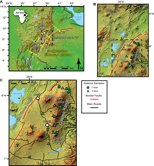 (A) Map of the Main Ethiopian Rift (MER) section of the East African Rift System (EARS) showing Afar, the Northern Main Ethiopian Rift (NMER), Central Main Ethiopian Rift (CMER), and Southern Main Ethiopian Rift (SMER). Also shown is the Boru-Toru structural high (BTSH). (B) Map of the Central Main Ethiopian Rift (CMER) showing location of the Wonji Fault Belt (WFB), Silti-Debre Zeyit Fault Zone (SDFZ), and the Akaki magmatic zone. (C) Enlarged portion of the Central Main Ethiopian Rift (CMER) showing the location of the Galema range and samples used in this study. Samples are color coded to indicate their inferred depths of fractionation derived from thermodynamic MELTS modeling (see text for details).