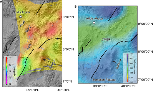(A) Depth slice at 10 km for Vp in the Central Main Ethiopian Rift (CMER), indicating higher velocities beneath the Galema range, consistent with the presence of solidified mafic material with greater density at depth. Modified from Keranen et al. (2004) and Rooney et al. (2014). (B) Moho depth in the Central Main Ethiopian Rift (CMER), indicating a region of deeper Moho beneath location of the Galema range on the Southeastern Ethiopian Plateau in comparison to Moho depth of areas of focused magmatic activity within the rift valley. The deeper Moho beneath the plateau is an indication of less lithospheric stretching and thinning. Modified from Keranen et al. (2009) and Rooney et al. (2014). SDFZ—Silti-Debre Zeyit Fault Zone; WFB—Wonji Fault Belt.