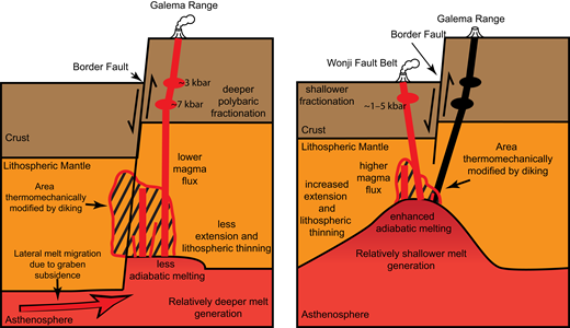 Cartoon showing the hypothesized formation of the Galema range and subsequent formation of the Wonji Fault Belt (WFB) on the eastern rift margin. Initial activity of the Galema range generated thermomechanical modification of the lithosphere resulting from vertical diking and ascending magma. This area of modified lithosphere facilitated the ascent of the magma that would form the WFB. Following this, a reduction or pause in the extension resulted in less magma available to flux into the lithosphere. This reduction in magma supply reduced the magma overpressure necessary for dike ascension and caused a cessation of magmatism at the Galema range. Continued extension progressively thinned the lithosphere within the rift, generating a greater adiabatic melt fraction from shallower depths. The increased melt resulted in an increased magma flux into the lithosphere, allowing for the development of a more well-developed magma plumbing system at the younger WFB. This more well developed magma plumbing system allowed the WFB to become the dominant location of magmatic strain accommodation within the rift as a result of the thermomechanical modification of the earlier diking beneath the Galema range. Figure not to scale.