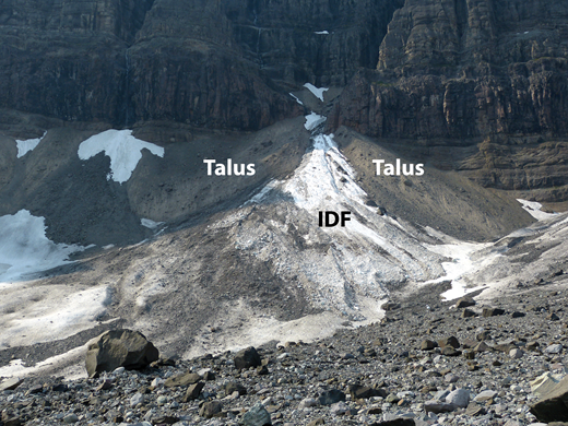 Photograph of fan-head trench on West Fan at McCarthy Glacier. Most mass flow deposits reaching the fan travel through an incised fan-head trench before splaying out onto mid-fan and distal-fan areas. Note extensive talus on both sides of fan-head trench. IDF—icy debris fan.