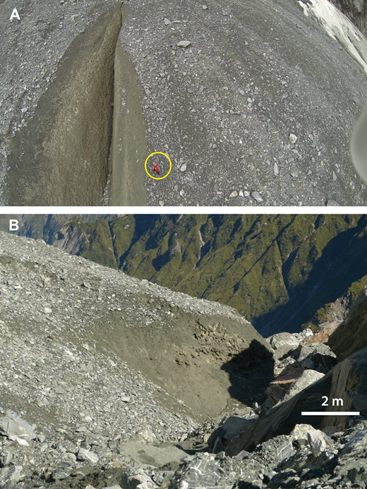 Internal stratigraphy of the distal parts of icy debris fans (IDFs) at La Perouse Glacier. (A) March 2015 drone photo into a large crevasse on East Fan (person in red for scale). (B) Oblique ground view of distal edge of Middle Fan where the toe has slumped along the margin of the rapidly thinning valley glacier. Both photos show the thin character of the surface ablation lag concentrated at the surface above an ice-rich material in the fans. Crude bedding dipping down-fan can be seen, but it is not well developed.