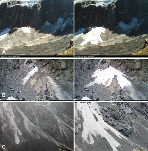Examples of extensive resurfacing (coverage of the fans) by new deposits during one depositional episode over the course of less than 24 h. (A) 80% coverage by ice avalanches on Fan 4 at Douglas Glacier from 1/25/2013 to 1/26/2013. (B) 85% coverage by ice avalanches on Middle Fan at La Perouse from 1/31/2013 to 2/1/2013. (C) 65% coverage by ice avalanches of Fan 1 at Mueller Glacier from 12/30/2014 to 12/31/2014.