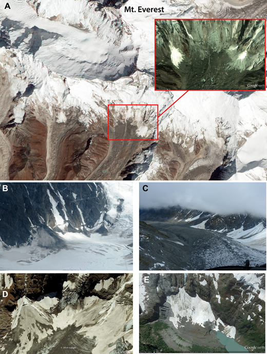 Photographs showing icy debris fans (IDFs) in diverse glaciated settings, including (A) Himalayan Mountains (NASA Earth Observatory image–Everest_ali_2012290 10/25/11); (B) Chugach Mountains, Alaska; (C) Balfour Glacier, Southern Alps, New Zealand; (D) Mount Hubel, Alps, Switzerland (Google Earth image); and (E) Mount Baker, Cascade Mountains, Washington, USA (Google Earth image). Not shown are examples we have mapped in Western British Columbia, Canada; Peru and Chile, Andes Mountains, South America. Variable resolution of imagery precludes mapping IDFs given their relatively small areal extent.