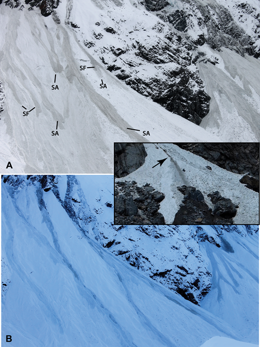 Slush avalanches (SA) and slush flows (SF) on Fan 1 at Mueller Glacier in July 2014. Note the dark-gray, cloudy nature of both types of deposits (A). Avalanches are generally wider with straight fronts. The more water-rich slush flows (B) exhibit lobate fronts and are generally thinner. Slush flows may also incise into underlying deposits due to turbulence during their flow. Inset from La Perouse Glacier in January 2013 shows incised channel (arrow).