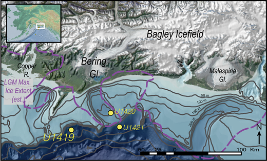 Regional bathymetric map of the Gulf of Alaska offshore of the Bering Glacier showing the location of Sites U1419, U1420, and U1421 drilled by Integrated Ocean Drilling Program (IODP) Expedition 341. Dashed line represents the estimated maximum ice extent during the last glacial maximum (LGM) from Kaufman and Manley (2004).