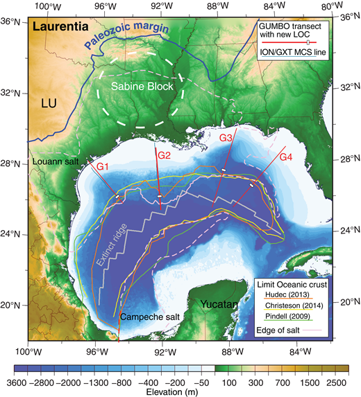 Bathymetry of the Gulf of Mexico. Outline of Louann and Campeche salt provinces (purple) after Winker and Buffler (1988), Marton and Buffler (1994), and Hudec et al. (2013). The extinct spreading center (gray) as defined by Christeson et al. (2014). Orange, yellow, and green lines mark previous limit of oceanic crust (LOC) interpretations (Pindell and Kennan, 2009; Hudec et al., 2013; Christeson et al., 2014), while white rectangles mark the LOC interpreted in the GUMBO seismic-refraction data. Approximate location of Sabine Block in white. The solid blue line marks the Ouachita-Appalachian thrust front along the southern margin of Laurentia . LU—Llano Uplift; MCS—multichannel seismic reflection; SE—Sigsbee Escarpment.