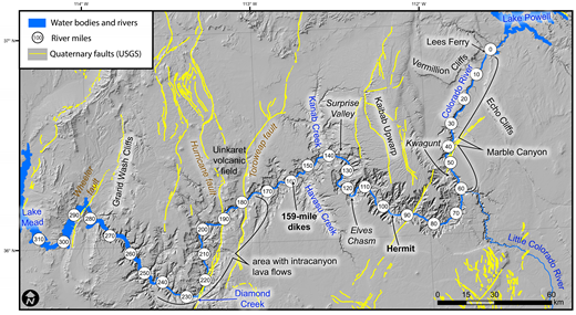 Overview map showing Grand Canyon, Quaternary faults (U.S. Geological Survey and Arizona Geological Survey, 2010), river miles measured downstream from Lees Ferry (Stevens, 1983) and locations discussed in the text.