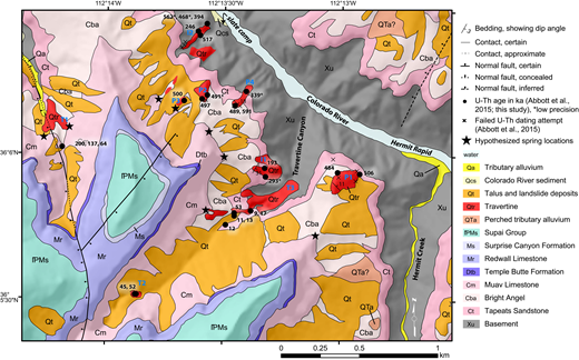 Geologic map of travertine deposits near Hermit Creek. Tonto Platform deposits (P1, P2, and P3), inner canyon drapes (I1and I2), and tributary deposits (T1, T2, and T3) are labeled using nomenclature of Abbott et al. (2015). Mapping modified from the published (Billingsley, 2000) and unpublished work of George Billingsley.