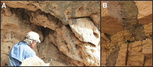 Photographs showing: (A) the site where sample RC15-96-2 was collected at the base of the Schist Camp drape. Only colluvial material was found under or in the deposit suggesting that the Colorado River had already carved to a lower position before travertine deposition occurred here. (B) En echelon dikes near river level at RM 159. The edges of the dike are outlines in the dashed white line. The grip of the hammer is 18.5 cm long.
