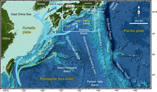 Index map of the northern Philippine Sea region and Japanese Islands with locations of key tectonic elements. Generalized pathways for the Kuroshio Current include conditions of sea level (SL) highstand (blue arrow) and lowstand (green arrow). See Figure 2 for more details of the Nankai Trough Seismogenic Zone Experiment (NanTroSEIZE) study area (white box).