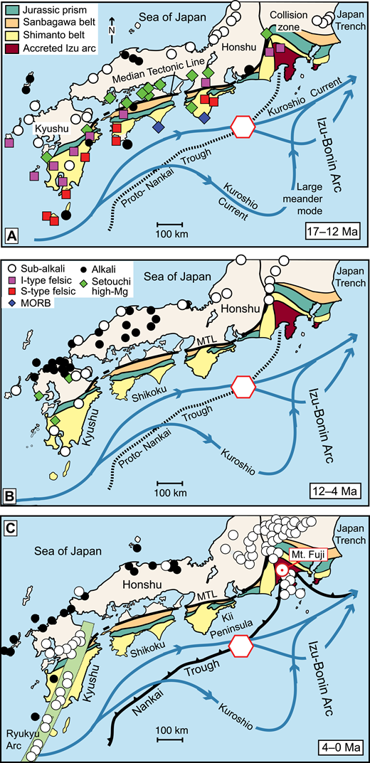 Paleogeographic reconstructions for the northern Shikoku Basin and surrounding regions during three stages of tectonic evolution, with major bedrock sediment sources of the Outer Zone as summarized by Fergusson (2003). Median Tectonic Line (MTL) marks the boundary between the Outer Zone to the south and the Inner Zone to the north. Keys to symbols apply to all three time stages: (A) 17–12 Ma; (B) 12–4 Ma; and (C) 4–0 Ma. Distributions of igneous rocks that formed within each time period are modified from Kimura et al. (2005). Paths for Kuroshio Current depict both large-meander and straight modes based on present-day observations and may be inaccurate for times prior to ca. 3.5 Ma. MORB—mid-ocean ridge basalt. Red hexagon depicts approximate location of study area.