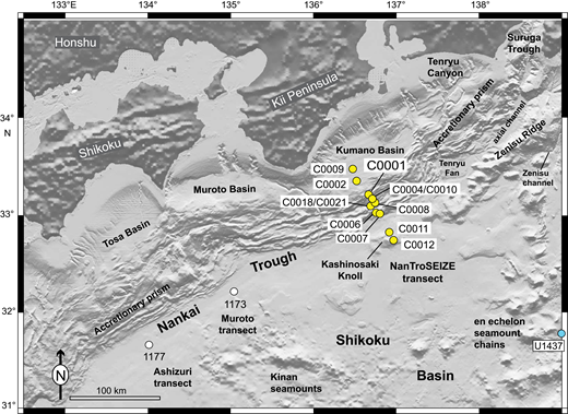 Enlarged map of the Nankai Trough Seismogenic Zone Experiment (NanTroSEIZE) transect area with locations of important bathymetric features and Integrated Ocean Drilling Program (IODP) drill sites. For reference, ODP Sites 1177 and 1173 are shown to identify where subduction inputs were cored along the Ashizuri and Muroto transects. IODP Site U1437 was drilled in the Izu-Bonin rear arc. See Figure 1 for regional context.