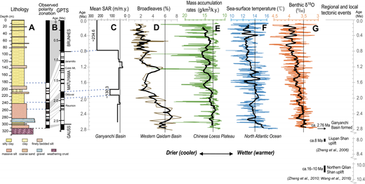 Comparison of the Ganyanchi Basin core record with climatic records since 2.8 Ma, which indicate an overall trend toward a drier and cooler climate. Lithology (Fig. 5) (A), magnetostratigraphy derived from young model in Figure 6 (B), and sediment accumulation rate (SAR) records (Fig. 7) (C) from this study are compared to: variations in broadleaf pollen content (the percentage value is relative to all pollen) in the western Qaidam Basin (Cai et al., 2012) (D); dust mass accumulation rates on the central Chinese Loess Plateau (Sun and An, 2005) (E); alkenone-derived sea-surface temperature record from the North Atlantic Ocean (Lawrence et al., 2009) (F); and stacked marine δ18O records (Lisiecki and Raymo, 2005) (G). Bold solid lines in each record indicate average values since 2.8 Ma. Rightmost column schematically indicates the timing of main tectonic events in northeastern Tibet. GPTS—geomagnetic polarity time scale.