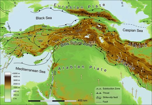 Overall tectonic sketch map of the Middle East. The box indicates the area shown in Figure 2. AT—Anatolide-Tauride terrane; IZ—Istanbul zone; SkZ—Sakarya zone; KM—Kirşehir Massif; NAF—North Anatolian fault; EAF—Eastern Anatolian fault; EP—Eastern Pontides; IAESZ—Izmir-Ankara-Erzincan suture zone; SASZ—Sevan-Akera suture zone; GC—Greater Caucasus; LC—Lesser Caucasus; DSF—Dead Sea fault. GPS vectors from Le Pichon and Kreemer (2010).