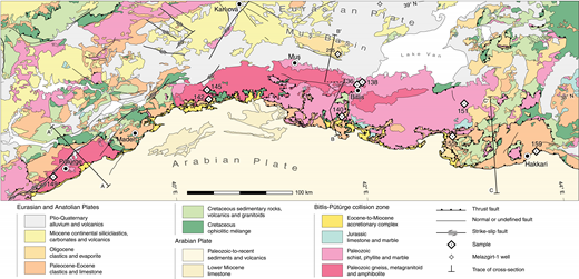 Geological sketch map of the Bitlis-Pütürge collision zone of southeastern Turkey (after Bilgic, 2002; Günay and Şenel, 2002; Şenel and Ercan, 2002; Tarhan, 2002).