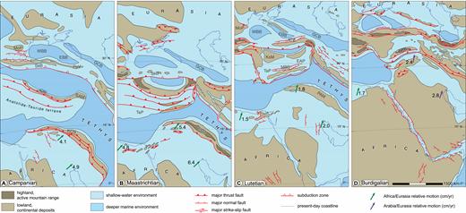 Paleogeographic sketch maps for the Arabia-Eurasia collision (modified from Barrier and Vrielynk, 2008). ATB—Anatolia-Tauride block; EAP—eastern Anatolia platform; BPB—Bitlis-Pütürge block; EBB—eastern Black Sea basin; GCB—Greater Caucasus Basin; ION—Izmir-Ankara-Erzincan ophiolite nappes; KCN—Kizildag-Cilo ophiolite nappe; KsM—Kirsehir Massif; MBB—Maden backarc basin; MoP—Moesian Platform; PAM—peri-Arabian massif; PoR—Pontides Range; PoV—Pontide volcanic arc; SAM—Sevan-Akera ophiolitic massif; SkB—Sakarya Basin; SSB—Sanandaj-Sirjan block; TaP—Tauride platform; WBB—western Black Sea basin.