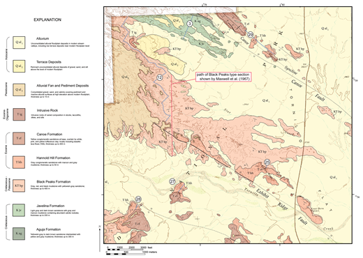 Geologic map of the type area of the Black Peaks Formation on western Tornillo Flat in Big Bend National Park, showing path of original type section measured by Maxwell et al. (1967) and that part of the section identified as Black Peaks Formation in the present study.